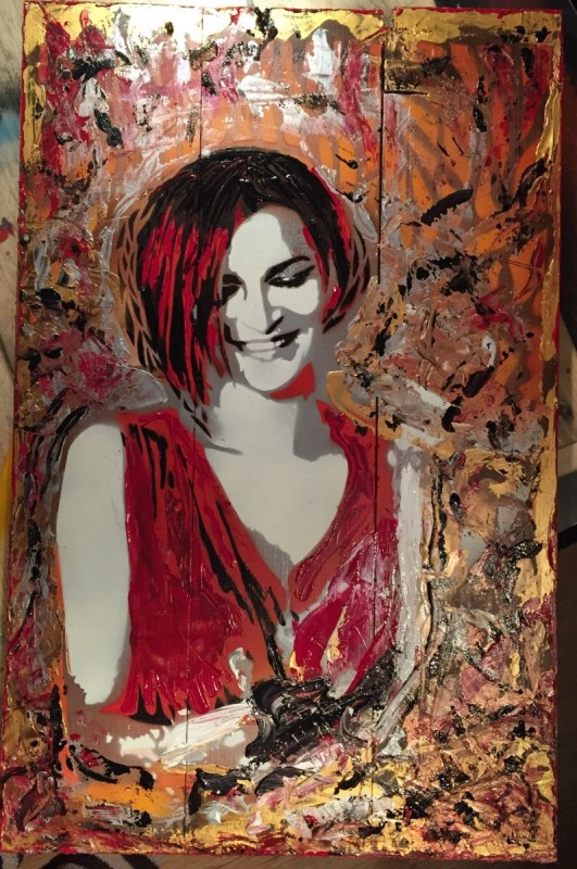 Stencil art on reclaimed wood – portrait of a woman in red ;)