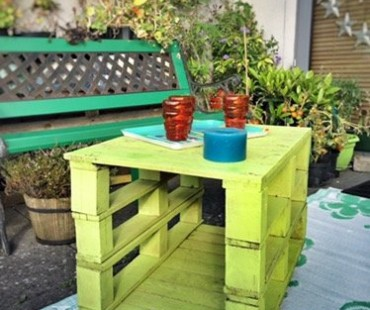 Coffee table made of reclaimed palet wood