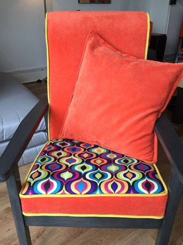 Another renovated armchair – magic colors and quality fabrics.