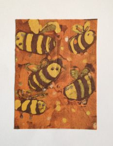 batik painting - bees on orange background
