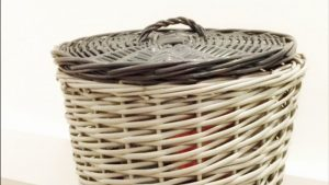 Spray painted wicker laundry baskets